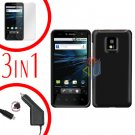For LG T-Mobile G2x Car Charger +Cover Hard Case Black +Screen 3-in-1