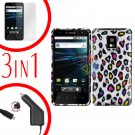 For LG T-Mobile G2x Car Charger +Cover Hard Case R-Leopard +Screen 3-in-1