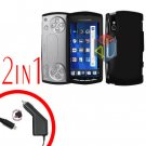 For Sony Ericsson Xperia Play Car Charger +Cover Hard Case Black 2-in-1