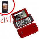 For Samsung Sidekick 4G T839 Cover Hard Phone Case Red + Screen 2in1
