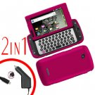 For Samsung Sidekick 4G Car Charger +Cover Hard Case R-Pink 2-in-1