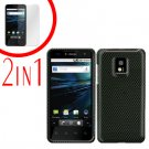 For LG T-Mobile G2x Cover Hard Case Carbon Fiber +Screen 2-in-1