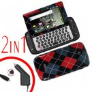 For Samsung Sidekick 4G Car Charger +Cover Hard Case R-Plaid 2-in-1
