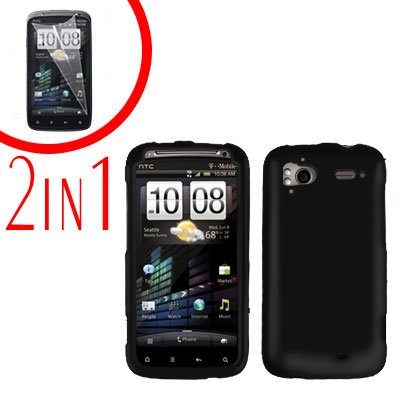 For HTC Sensation Cover Hard Case Black + Screen Protector 2-in-1