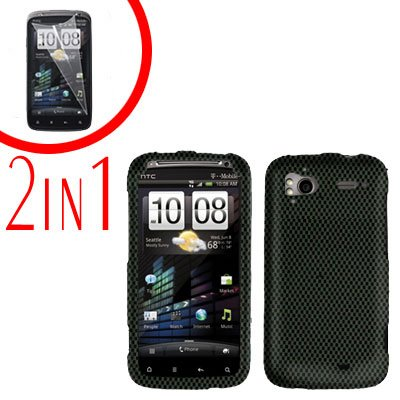 For HTC Sensation Cover Hard Case Carbon Fiber + Screen Protector 2-in-1