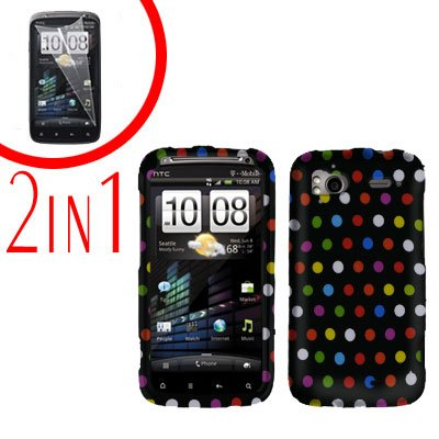 For HTC Sensation Cover Hard Case R-Dot + Screen Protector 2-in-1