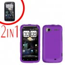 For HTC Sensation Cover Hard Case Purple + Screen Protector 2-in-1