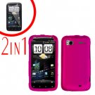 For HTC Sensation Cover Hard Case R-Pink + Screen Protector 2-in-1