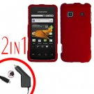 For Samsung Prevail M820 Car Charger +Hard Case Rubberized Red