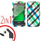 For Samsung Prevail M820 Car Charger +Hard Case Plaid