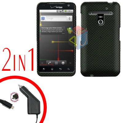 For LG Revolution VS910 Car Charger +Cover Hard Case Carbon Fiber 2-in-1