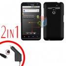 For LG Revolution VS910 Car Charger +Cover Hard Case Black 2-in-1