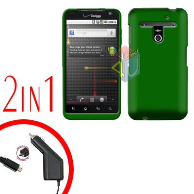 For LG Revolution VS910 Car Charger +Cover Hard Case Green 2-in-1