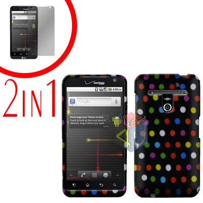 For LG Revolution VS910 Cover Hard Case R-Dot + Screen Protector 2-in-1