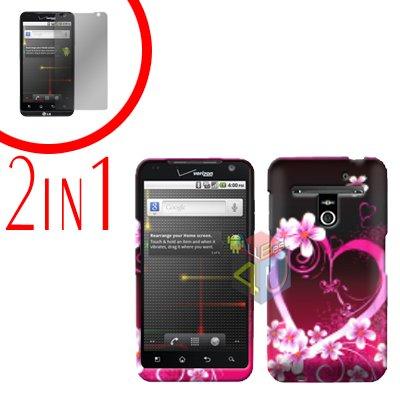 For LG Revolution VS910 Cover Hard Case Love + Screen Protector 2-in-1