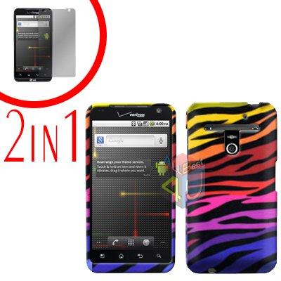 For LG Revolution VS910 Cover Hard Case C-Zebra + Screen Protector 2-in-1