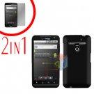 For LG Revolution VS910 Cover Hard Case Black + Screen Protector 2-in-1