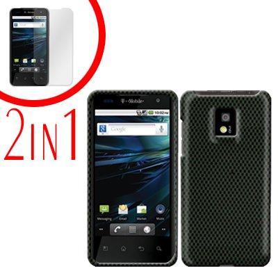 For LG Optimus 2x P990 Cover Hard Case Carbon Fiber +Screen 2-in-1