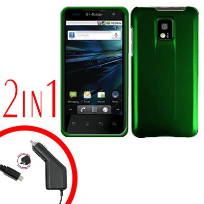 For T-Mobile LG G2x Car Charger +Cover Hard Case Green 2-in-1
