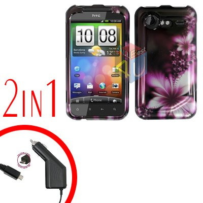 For HTC Incredible S Cover Hard Case L-Flower + Screen Protector 2-in-1