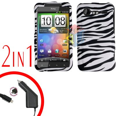 For HTC Incredible S Cover Hard Case Zebra + Screen  2-in-1