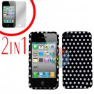 For Apple iPhone 4S 4 Cover Hard Case Polka Dot +Screen 2-in-1