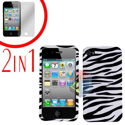 For Apple iPhone 4S 4 Cover Hard Case Zebra +Screen 2-in-1