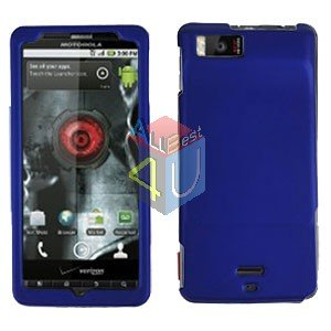 For Motorola Droid X2 Cover Hard Case Rubberized Blue