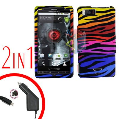 For Motorola Droid X2 Car Charger +Cover Hard Case C-Zebra 2-in-1