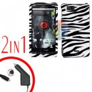 For Motorola Droid X2 Car Charger +Cover Hard Case Zebra 2-in-1