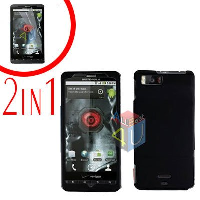 For Motorola Milestone X Cover Hard Case Black +Screen 2-in-1