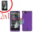 For Motorola Milestone X Cover Hard Case Purple +Screen 2-in-1