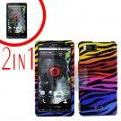 For Motorola Milestone X Cover Hard Case C-Zebra +Screen 2-in-1