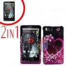 For Motorola Milestone X Cover Hard Case Love +Screen 2-in-1