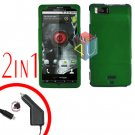For Motorola Milestone X Car Charger +Cover Hard Case Green 2-in-1