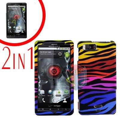 For Motorola Droid X2 Cover Hard Case C-Zebra +Screen 2-in-1