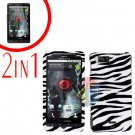 For Motorola Droid X2 Cover Hard Case Zebra +Screen 2-in-1