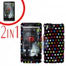 For Motorola Droid X2 Cover Hard Case R-Dot +Screen 2-in-1