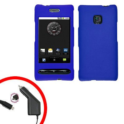 For LG Optimus GT540 Car Charger +Cover Hard Case Rubberized Blue 2-in-1