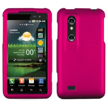 For LG Thrill 4G / Optimus 3D P920 Cover Hard Case Rubberized R-Pink