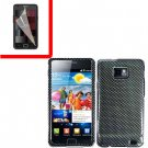 For Samsung Galaxy S II i9100 Cover Hard Case Carbon Fiber +Screen Protector