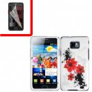 For Samsung Galaxy S II i9100 Cover Hard Case R-Lily +Screen Protector