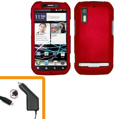 For Motorola Photon 4G Car Charger +Hard Case Red
