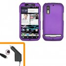 For Motorola Photon 4G Car Charger +Hard Case Purple