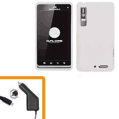 For Motorola Droid 3 XT862 Car Charger +Hard Case White