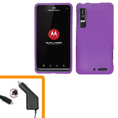 For Motorola Droid 3 XT862 Car Charger +Hard Case Purple