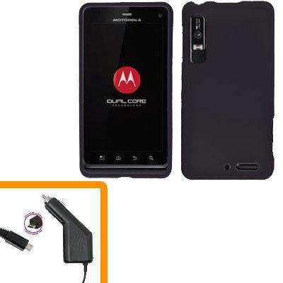 For Motorola Droid 3 XT862 Car Charger +Hard Case Black