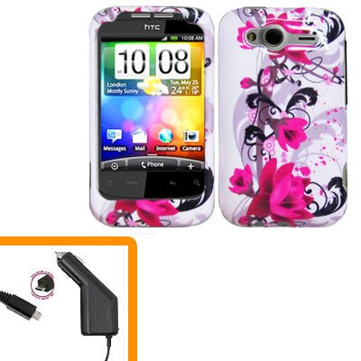 For HTC Wildfire S Car Charger + Cover Hard Case W-Flower