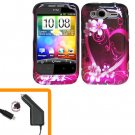 For HTC Wildfire S Car Charger + Cover Hard Case Love