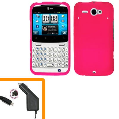 For HTC Status / ChaCha Car Charger + Cover Hard Case H-Pink